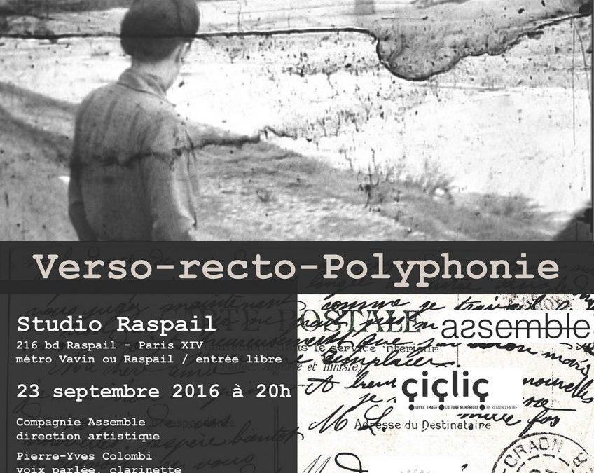 23 septembre 2016 Verso-Recto-Polyphonie