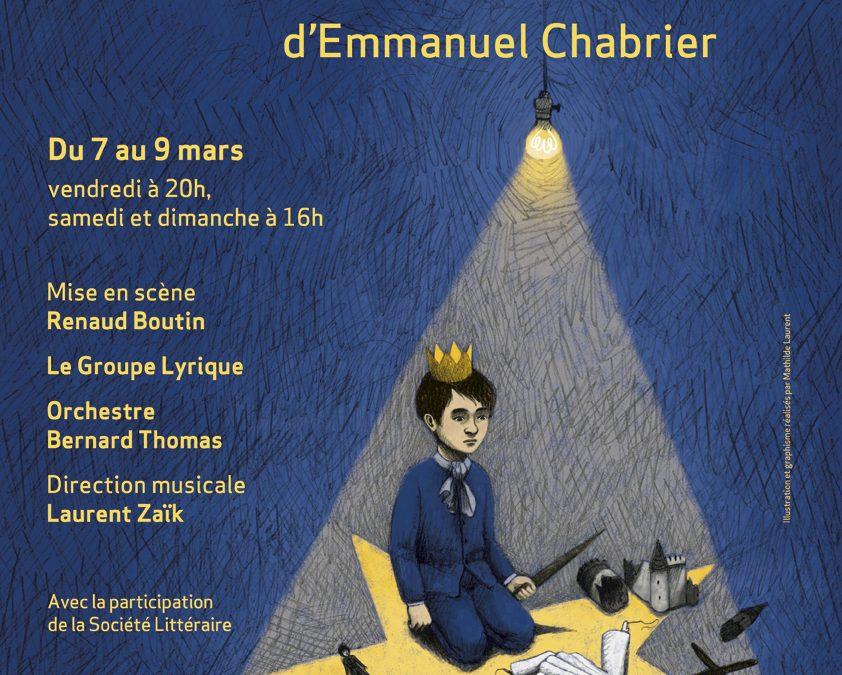 Invitation exceptionnelle le vendredi 7 mars 2014 : L'étoile d'Emmanuel Chabrier